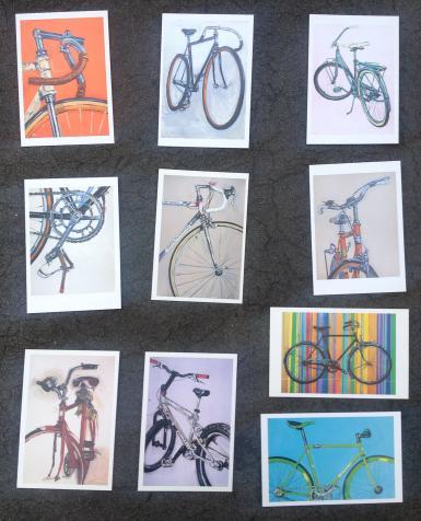 Bike Bicycle Art Stationary Postcard Set