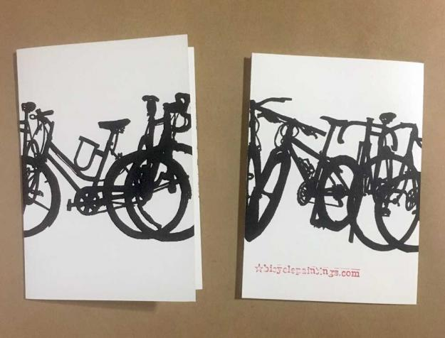 Bike Bicycle Art Stationary Hand Printed Greeting Cards
