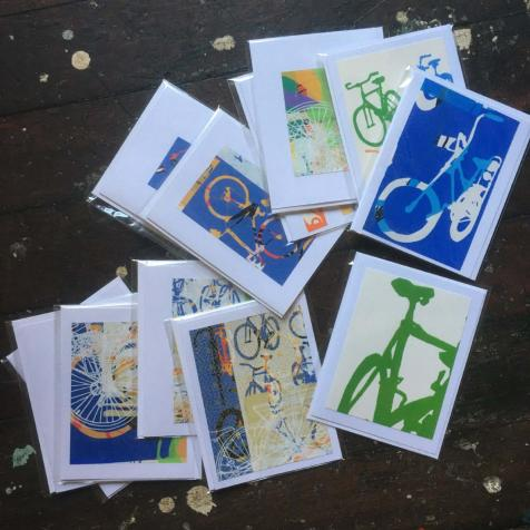 Bike Bicycle Art Stationary Hand Printed Notecards