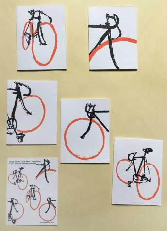 Track Bike Bicycle Stationary Hand Printed Notecards