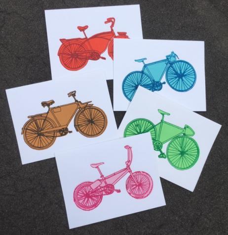 Bike Bicycle Art Stationary Hand Printed Notecards