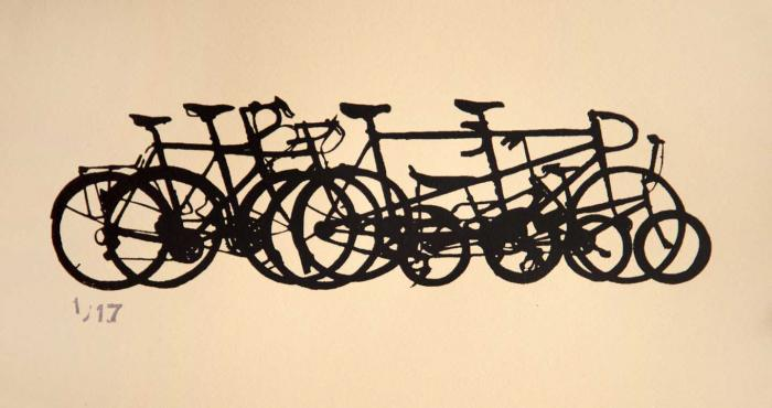 bike bicycle stack pile print cycling art
