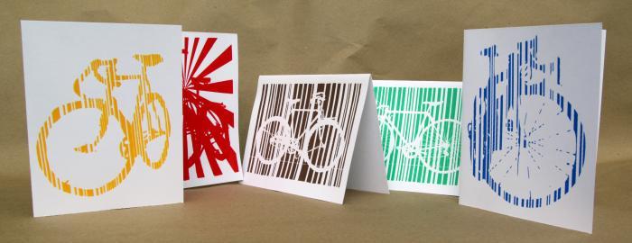 Bike Bicycle Art Stationary Hand Printed Graphic Art Design Notecards