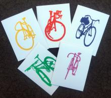 Bike Bicycle Silhouette Art Stationary Hand Printed Notecards